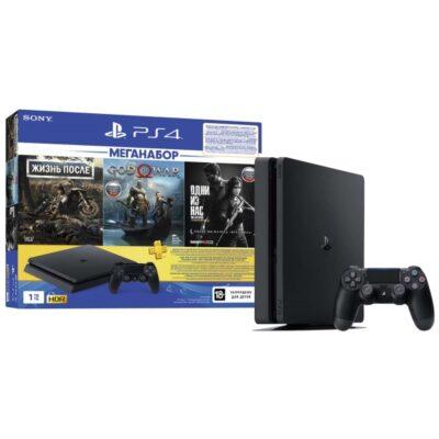 Игровая приставка Sony PlayStation 4 Slim 1TB Black + Жизнь После + God of War + The Last of Us + Подписка 3 мес
